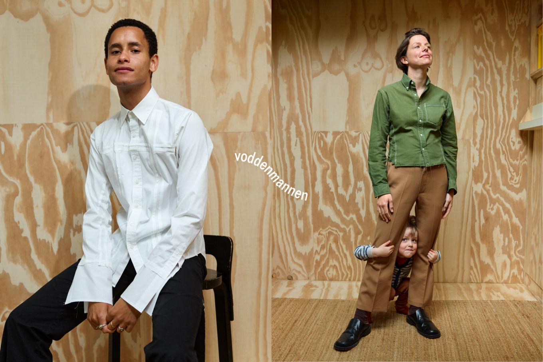 Twee foto's: een man met een witte blouse met wijde mouwen en een dame met een groen overhemd met stiksels